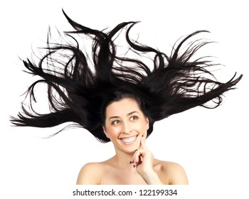 Young woman with long splayed hair