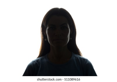 Young woman look ahead with flowing hair - horizontal silhouette of a front view
