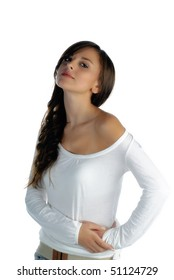 Young woman looking at the camera isolated on white