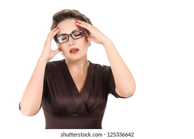 Young woman looking depressed with closed eyes isolated on white background