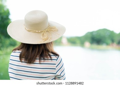 young woman looking at forward in the park