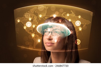Young woman looking at futuristic social network map concept