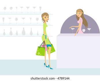 Young woman looking at glass in glass store (vector file is also in gallery)
