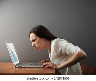 young woman looking at laptop with distrust