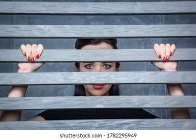 A young woman looks over the fence through the cracks