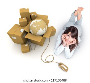 Young woman lying by a pile of parcels containing the Earth connected to a computer mouse