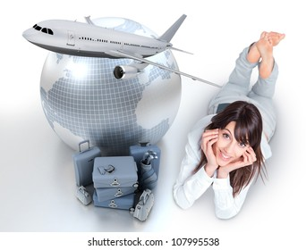 Young woman lying on the floor by a pile of luggage the Earth and a flying plane