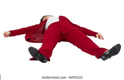 Young woman lying unconscious on a white background
