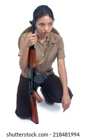 young woman with a machine gun