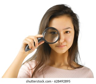 young woman with magnifying glass