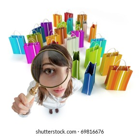 Young woman with magnifying glass with lots of shopping bags