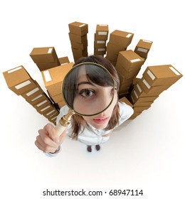 Young woman with a magnifying glass surrounded by piles of cardboard boxes