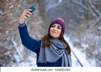 Young woman make selfie