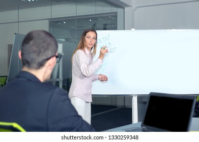 Young woman makes a project presentation for employees in the office.