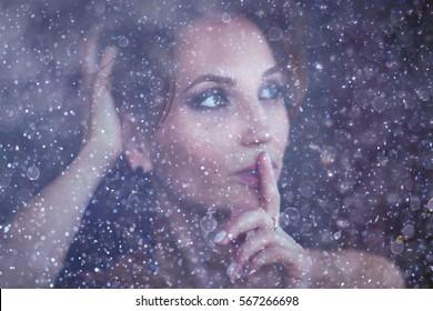 young woman makeup winter snow