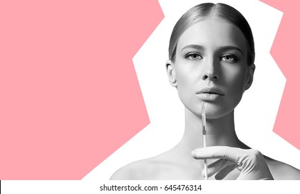 Young woman making anti-aging injections to increase the lips isolated on white background