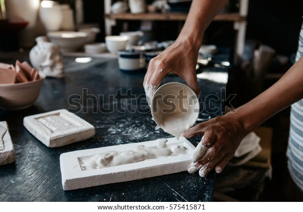 Young Woman Making Ceramic Mold Handicraft Stock Photo (Edit