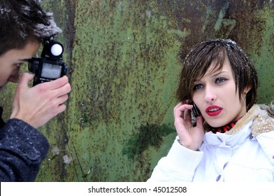 young woman making conversation