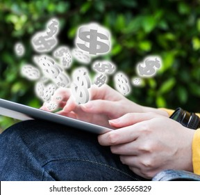 Young woman making money online