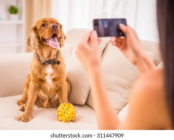 Young woman is making a picture with her cute dog pet.
