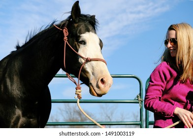 Young woman with mare horse on halter after groundwork, western lifestyle.