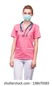 young woman medic with mouth protection and stethoscope on white
