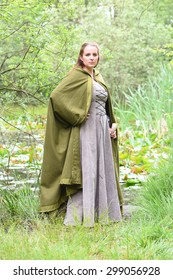 young woman in medieval dress
