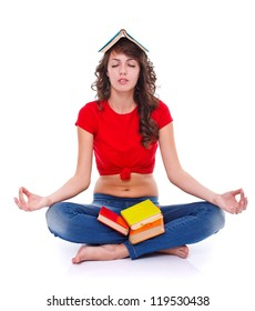 Young woman meditating with colorful books, white background