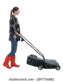 Young woman with modern lawn mower on white background