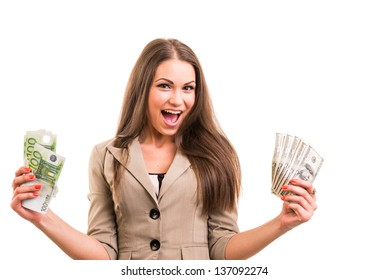 Young Woman With Money In Hands On White Background