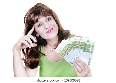 young woman with money isolated