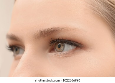 Young woman with natural eyebrows, closeup