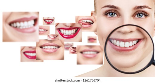 Young woman near collage with health teeth. Over white background.