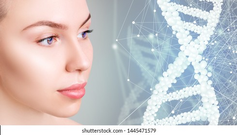 Young woman near digital bubble DNA stems. Over blue background. Beauty science concept.