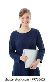 Young woman with new modern  laptop