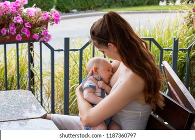 Young woman, new mother breastfeeding and caring her cute baby with love and kindness, nursing newborn outside on daylight, sitting on wooden bench, flowers, plants and walkway behind her