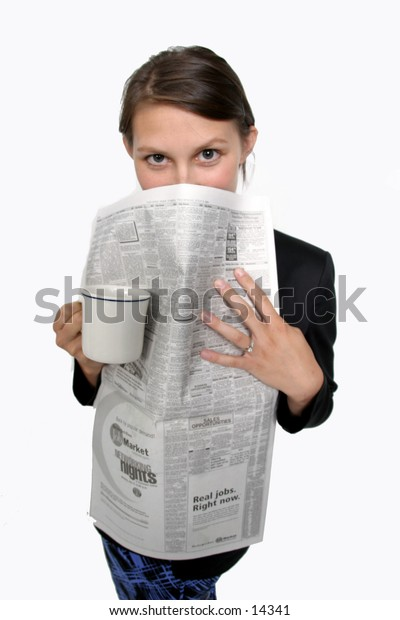 young woman with newspaper