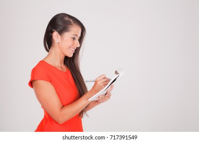 young woman with notebook on white