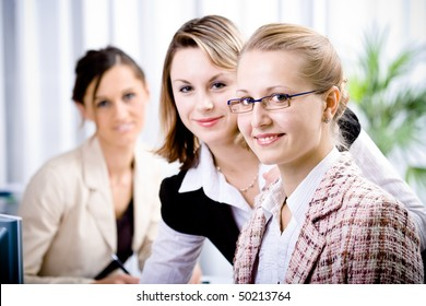 A young woman in the office