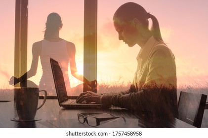 Young woman in the office feeling at peace and relaxed in her mind. Work, health and positive stress management concept. Double exposure