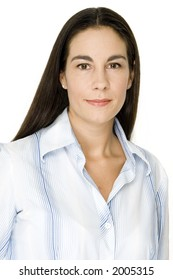 A young woman in office wear on white background