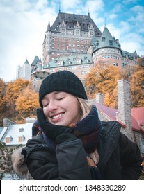 Young woman in Old Quebec city , Canada