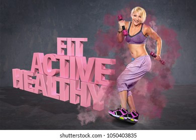 young woman on a ballance board with barbells
