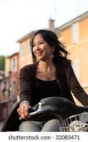 Young woman on a bike