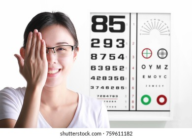 Young woman on eyesight test chart background. Eyesight and eye examination.