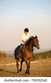 Young woman on horse galloping.