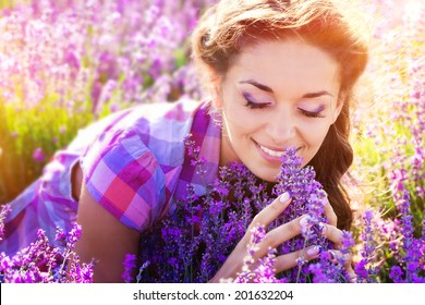 Young woman on lavender field