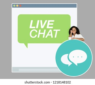 Young woman on a live chat