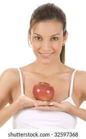 Young woman on white background with an apple