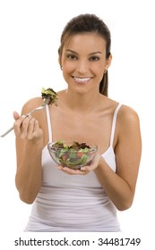 Young woman on white background with a salad